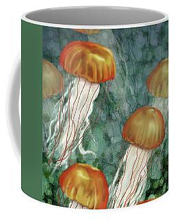Golden Jellyfish In Green Sea Coffee Mug