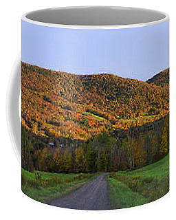 Coffee Mug featuring the photograph Golden Light On The Catskills by Mark Papke