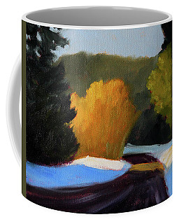Coffee Mug featuring the painting Golden Light Winter Road by Nancy Merkle