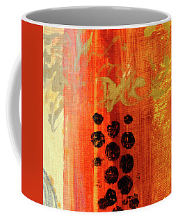 Coffee Mug featuring the painting Golden Marks 1 by Nancy Merkle