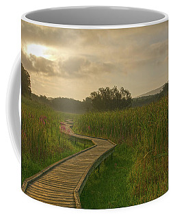 Golden Pathway To A Foggy Sun Coffee Mug by Angelo Marcialis