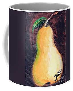 Coffee Mug featuring the painting Golden Pear.. by Jolanta Anna Karolska
