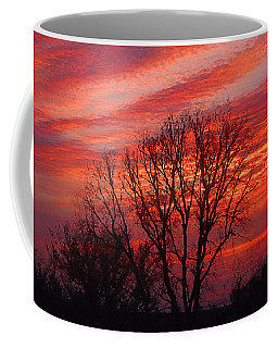 Golden Pink Sunset With Trees Coffee Mug