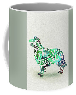 Coffee Mug featuring the painting Golden Retriever Dog Watercolor Painting / Typographic Art by Ayse and Deniz