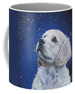 Golden Retriever Pup In Snow Coffee Mug