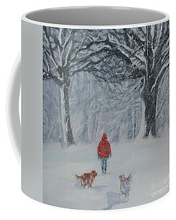Golden Retriever Winter Walk Coffee Mug