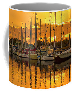 Golden Sailboat Sunrise Over Stuart Marina, Florida Coffee Mug