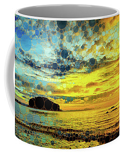 Coffee Mug featuring the mixed media Golden Sea by Susan Maxwell Schmidt