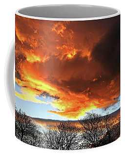 Golden Sunset With Filigree Trees Coffee Mug