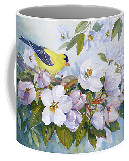 Goldfinch And Crabapple Blossoms Coffee Mug