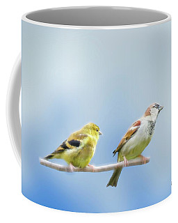 Goldfinch And House Sparrow Perching Together. Coffee Mug