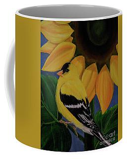 Goldfinch And Sunflower Coffee Mug by Jane Axman