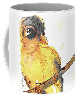 Coffee Mug featuring the painting Goldfinch by Dawn Derman