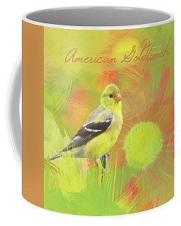 Goldfinch Watercolor Photo With Painted Daisy Coffee Mug