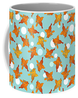 Coffee Mug featuring the digital art Goldfish And Bubbles Pattern by MM Anderson