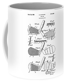 Golf Club Patent Drawing White 3 Coffee Mug