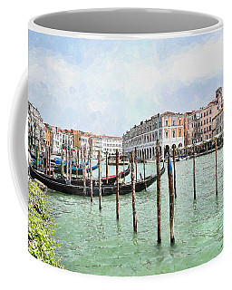 Gondolas At Hotel Ca' Sagredo Coffee Mug by Kai Saarto