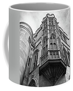 Coffee Mug featuring the photograph Gonville And Caius College Library Cambridge In Black And White by Gill Billington