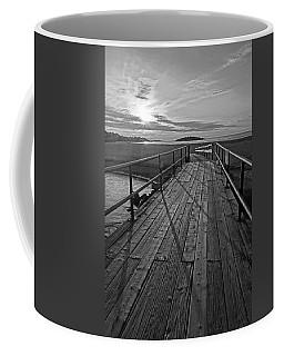 Good Harbor Beach Footbridge Shadows Black And White Coffee Mug