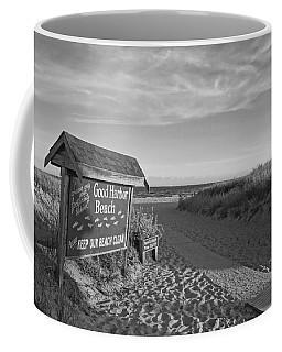 Good Harbor Sign At Sunset Black And White Coffee Mug