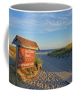 Good Harbor Sign At Sunset Coffee Mug
