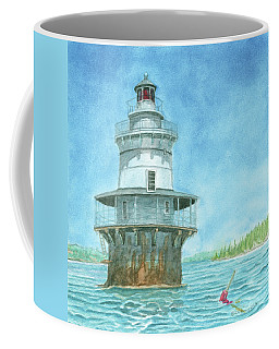 Coffee Mug featuring the painting Goose Rocks Light At High Tide by Dominic White