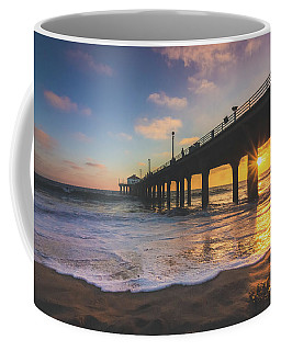 Coffee Mug featuring the photograph Gorgeous Sunset At Manhattan Beach Pier by Andy Konieczny