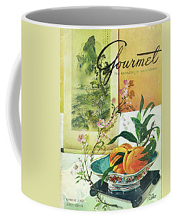 Gourmet Cover Featuring A Bowl Of Peaches Coffee Mug