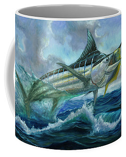 Grand Blue Marlin Jumping Eating Mahi Mahi Coffee Mug