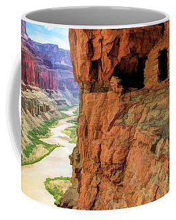 Coffee Mug featuring the painting Grand Canyon Cliff Granaries by Christopher Arndt