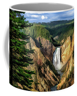 Coffee Mug featuring the painting Grand Canyon Of The Yellowstone Waterfall by Christopher Arndt