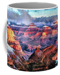 Coffee Mug featuring the painting Grand Canyon Snow by Christopher Arndt