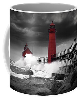 Grand Haven Lighthouse In A Rain Storm Coffee Mug