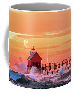 Coffee Mug featuring the painting Grand Haven Lighthouses by Christopher Arndt