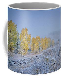 Coffee Mug featuring the photograph Grand Teton Fall Snowfall Scene by Scott McGuire