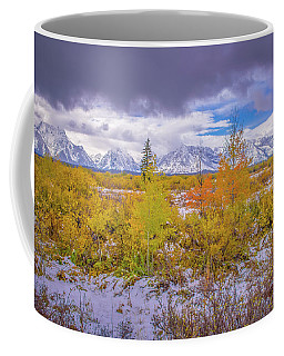 Coffee Mug featuring the photograph Grand Teton Fall Snowfall by Scott McGuire