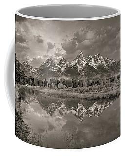 Grand Teton Monochromatic Panoramic Coffee Mug