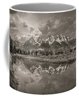 Coffee Mug featuring the photograph Grand Teton Monochromatic Panoramic by Scott McGuire