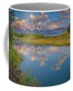 Coffee Mug featuring the photograph Grand Teton Morning Reflection by Scott McGuire