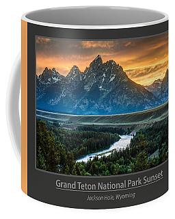 Grand Teton National Park Sunset Poster Coffee Mug by Gary Whitton