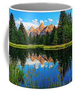Grand Teton Reflections In Snake River Coffee Mug