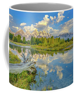 Coffee Mug featuring the photograph Grand Teton Riverside Morning Reflection by Scott McGuire