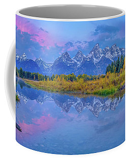 Coffee Mug featuring the photograph Grand Teton Sunrise Panoramic by Scott McGuire