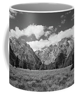 Grand Tetons In Black And White Coffee Mug