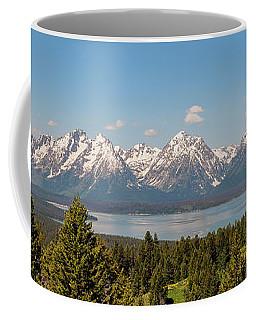 Grand Tetons Over Jackson Lake Panorama Coffee Mug by Brian Harig