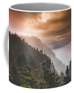 Coffee Mug featuring the painting Grandfather Mountain Blue Ridge Mountains Of North Carolina by Gray Artus