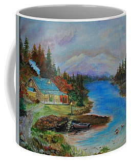 Coffee Mug featuring the painting Grandmas Cabin by Leslie Allen