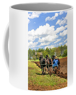 Coffee Mug featuring the painting Grandpa And His Team Of Horses At Old World Wisconsin by Christopher Arndt