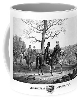 Coffee Mug featuring the mixed media Grant And Lee At Appomattox by War Is Hell Store