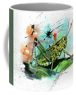 Coffee Mug featuring the drawing Grasshopper by John Dyess